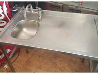 1.07m Single Bowl Commercial Sink with Taps