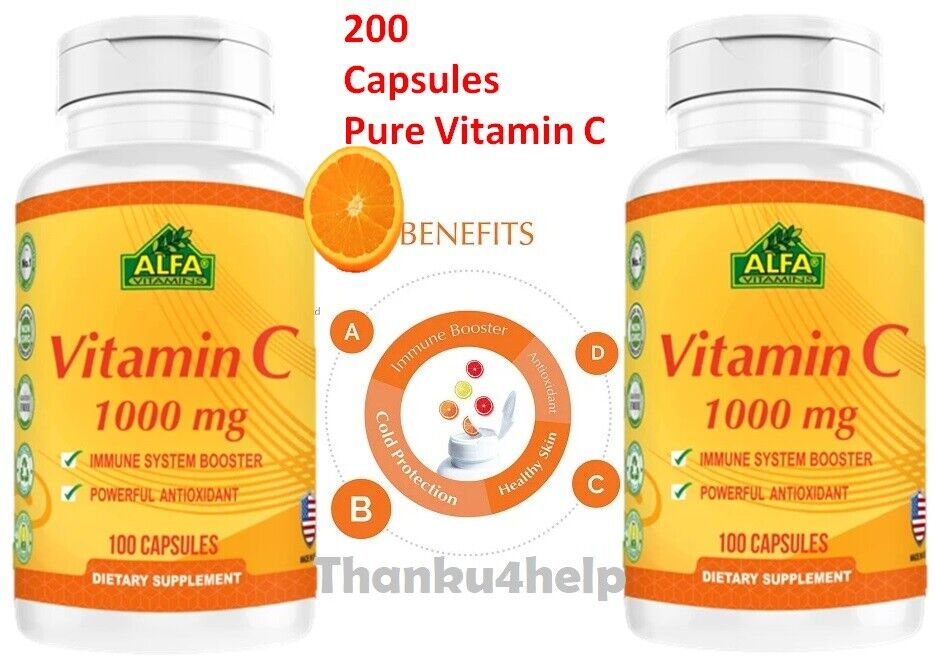 Vitamin C ALFA 1000 mg Support the Immune System 100 Fast Shipping 2 bottles  1
