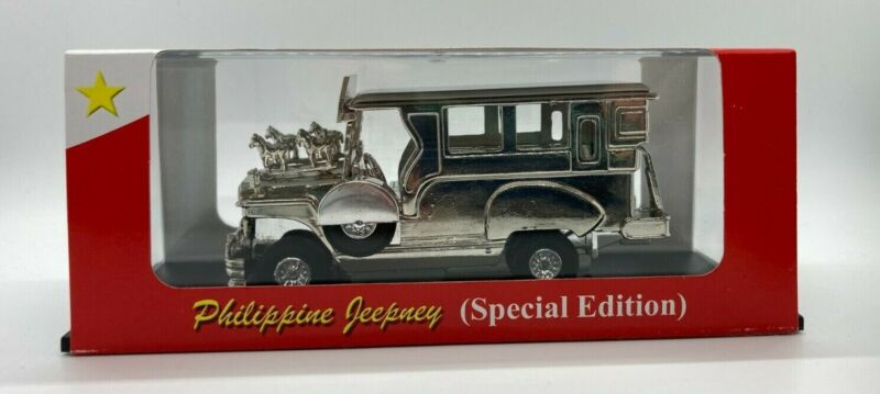 """Philippine Jeepney Die Cast 5"""" Special Edition in Silver & in a Display Case NIB"""