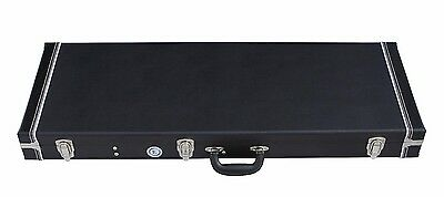 Allen Eden Black Hard Shell Guitar Case with Brown Plush Lining for Strat & Tele