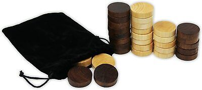 DA VINCI 1.38 Inch Wood Backgammon Checkers Pieces 30 Replacement Game Chips
