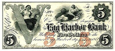 5 Egg Harbor Bank  Nj   Cu 1861  Ex Q David Bowers New Jersey Obsolete Currency