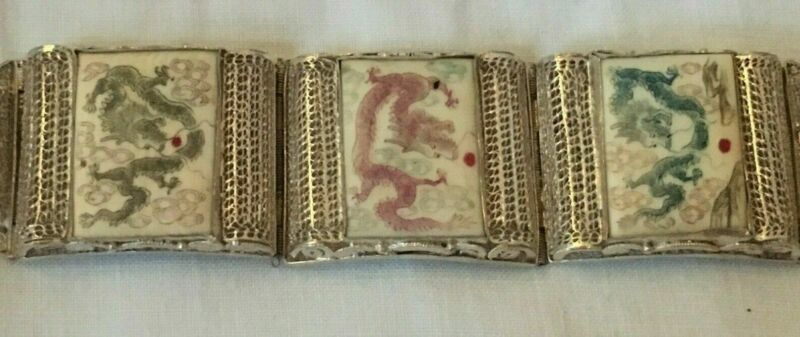 Antique Chinese Export Scrimshaw Silver Filigree Bracelet With Dragon Figures