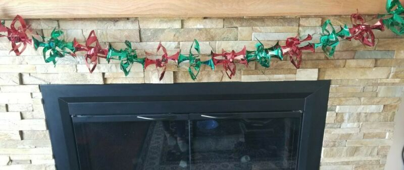 Vintage Mid Century  Red and Green Fold Out Foil Christmas Garland   1950-1960