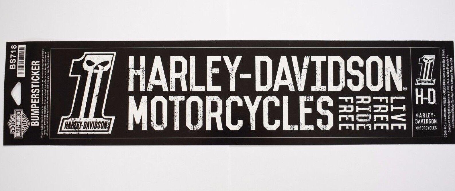 Genuine Harley Davidson Live Free Ride Free Bumper Sticker BS718