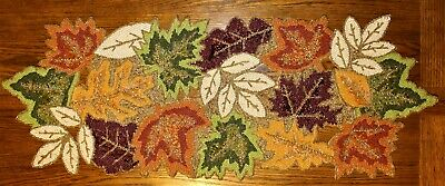 """Celebrate Fall Together, Glass Beaded Autumn Leaves Table Runner, 36"""" x 13"""" NWT"""