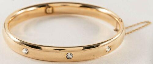 ANTIQUE 14K YELLOW GOLD DIAMOND BANGLE BRACELET c1911 Signed