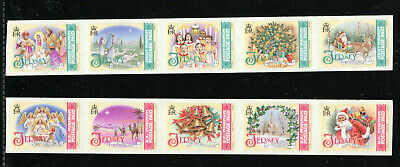 JERSEY 1294-95, 2007 CHRISTMAS SONGS, UNFOLDED SELF ADH STRIPS, MNH (JER038) ()