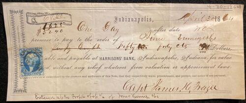 1864  ***CIVIL WAR ERA*** INDIANAPOLIS, IND. $68.65 PROMISSORY NOTE+SCOTT# R5c !