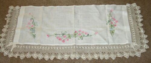 Vintage antique mantle cloth table runner embroidered crochet lace linen wide