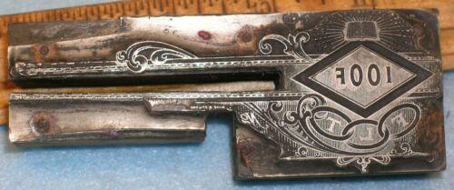 Antique IOOF ODD FELLOWS FLT & 3 RINGS LETTERHEAD Zinc Print Block MB031
