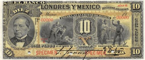 Mexico  10 Pesos  ND. 19xx  Series E  Specimen  Uncirculated Banknote