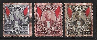 ZANZIBAR 1896 Used Set of 3 Key Values SG #172-174 VF