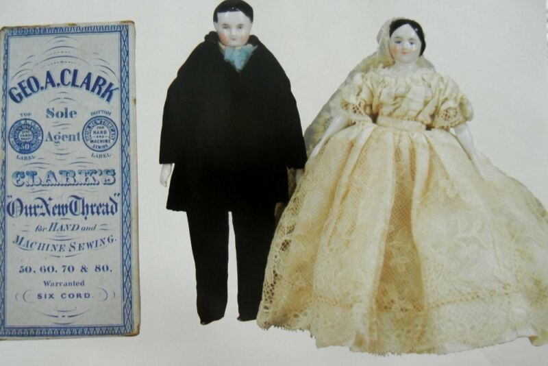 11p History Article - Antique Miniature German China Doll House Dolls - Wedding