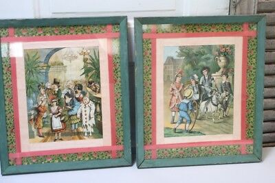 Victorian Paper Doll Cut Out Art Raised Pop out Sections 2 Framed Clowns Child