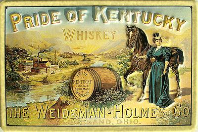 Pride of Kentucky Whiskey Blechschild, 30 x 20 cm, gewölbt & geprägt