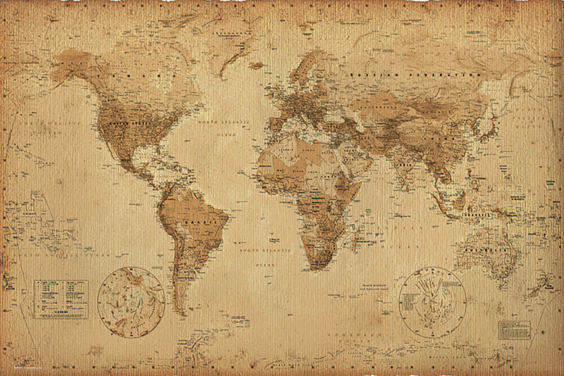 "ANTIQUE STYLE WORLD MAP - POSTER / PRINT (SIZE: 36"" X 24"") (SEPIA / BROWN)"