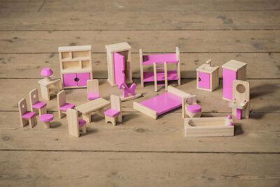 Enfants en bois maison de poupées meubles set avec rose détails pour âge 3