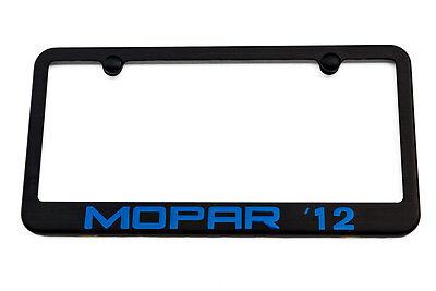 MOPAR 12 Chrysler 300 Satin Black License Plate Frame  - Blue Engraved Logo ()