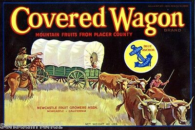 Placer CA Covered Wagon Orange Fruit Crate Label Art Print  New Castle Fruit Co for sale  Theresa