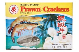 Wing's Brand PRAWN CRACKERS 227g 80z White Slice for Chinese Takeaway Restaurant