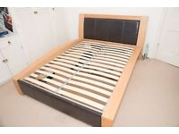 Quality Kingsize bed - Wooden Oak frame w/ REAL Leather features