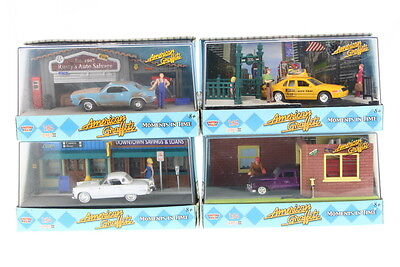 Motormax American Graffiti Moments in Time 1/64 Diecast Car Diorama - Set of 4