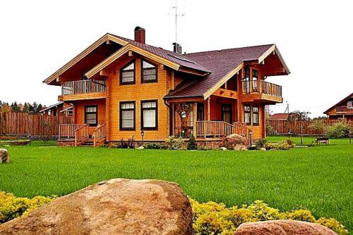 LOG HOUSE KIT #LH-195 ECO FRIENDLY WOOD PREFAB DIY BUILDING CABIN HOME MODULAR