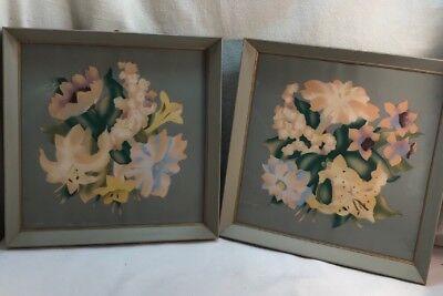 Vtg PAIR 50-60's Cottage Airbrush Flowers SHABBY Gray Shadow Box Wood Frames