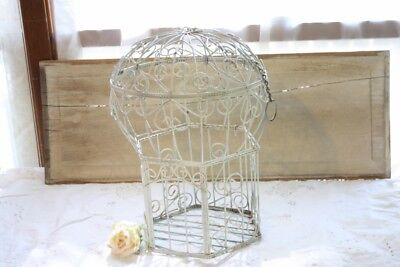 Iron Decorative Bird Cage Balloon Top White Twisted French Wire Hearts w Chain