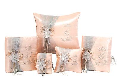 5PC Blush Quinceanera Mis Quince Set Kneeling Tiara Pillow Guestbook Album Bible](Mis Quince Decorations)