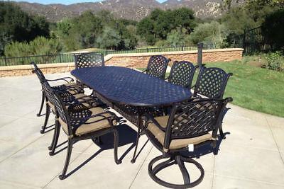 9 piece patio dining set cast aluminum outdoor furniture seats 8 table Bronze Cast Aluminum Dining Furniture