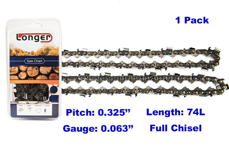 """18"""" Full Chisel 74 Links Chainsaw Drive Chain .325"""" Pitch .063"""" Gauge For STIHL"""