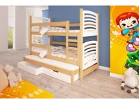 SPECIAL OFFER! Bunk Bed OLI 4B white with Mattresses Storage Container Pine Wood New