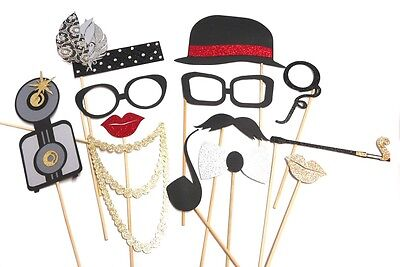 Photo Booth Props Weddings Parties 1920s Roaring 20s Lips Necklace Hat x 12PC ()