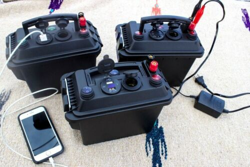 12v 7ah Mighty Max Powerbox w/ Charger Ice Fishing Camping Kayak All weather box