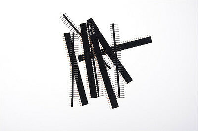 10pcs Black 40 Pin 2.54mm Single Row Straight Male Female Pin Header Stripg0h
