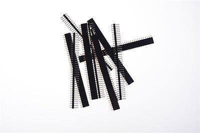 10pcs Black 40 Pin 2.54mm Single Row Straight Male Female Pin Header Strip Fd