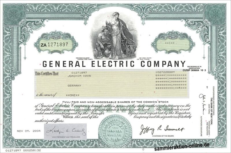 Ein Klassiker aus den USA - die originale Wallstreet-Version der General Electric Aktie