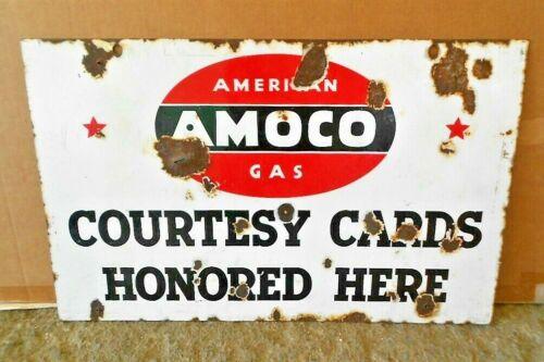 Vintage Original  AMERICAN AMOCO GAS Porcelain Metal Signs Gas Oil Collectibles