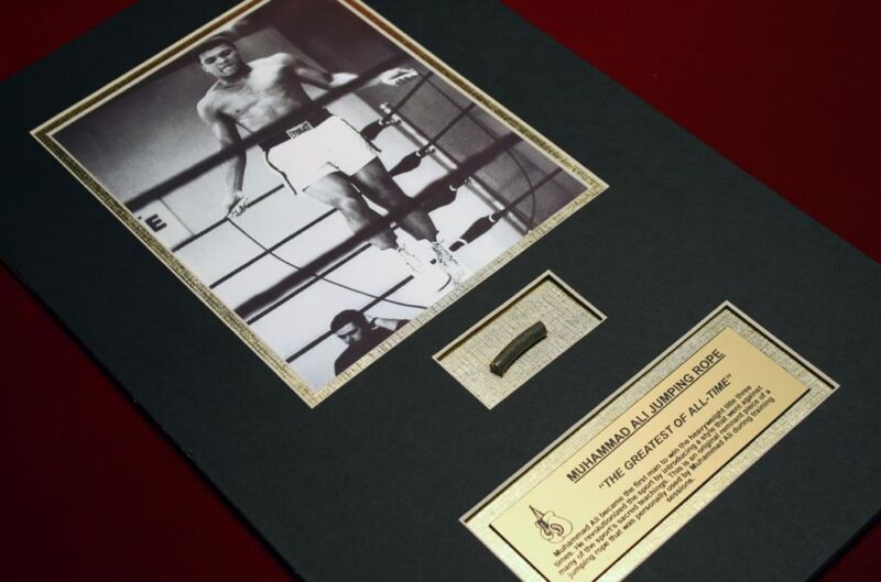 MUHAMMAD ALI piece of his Training JUMP ROPE matted with Photo + COA, AFFIDAVIT