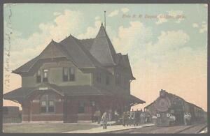 Postcard-GALION-Ohio-OH-Erie-Railroad-Depot-Station-1907