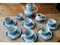Vintage Midwinter Stonehenge Tea Set Caprice Design- Coffee pot, Cups, Saucers, Milk Jug, Sugar Bowl