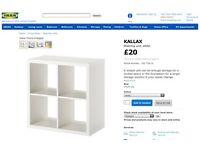 IKEA WHITE 4 CUBE KALLAX / EXPEDIT UNIT