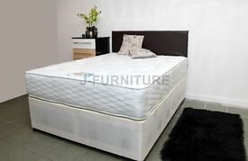 """BRAND NEW 4ft OR 4fT6 SUPER LUXURY DIVAN BED WITH EXTRA FIRM EXTRA HARD 12"""" MATTRESS"""