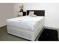 "BRAND NEW 4ft OR 4fT6 SUPER LUXURY DIVAN BED WITH EXTRA FIRM EXTRA HARD 12"" MATTRESS"