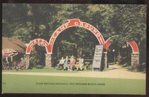 Postcard-OLD-ORCHARD-BEACH-Maine-ME-Camp-Ground-Entrance-Arch-1930s