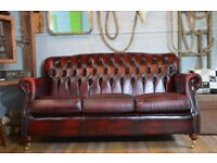 Thomas Lloyd Chesterfield Vintage Leather 3 Seater Sofa Ox Blood