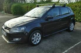1 owner VW Polo Match 1.2, 5 door hatchback, BLACK, 35,000, tinted glass, bluetooth and roof bars