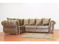 Chesterfield Left Hand Corner Sofa Mink Crushed Velvet Sofa - Free 2 Man delivery within 50 miles